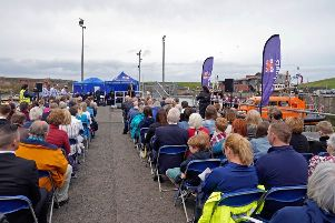 The crowds gathered for the official naming ceremony of the new Eyemouth Shannon Class lifeboat, the Helen Hastings.