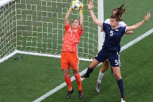 Scotland goalkeeper Lee Alexander was outstanding in Sundays 2-1 World Cup defeat against England (Pic by Valery Hache)