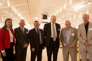 Ceil Lyndsay,Mike castlay,Tim Benett,Lord Hesley,Wayne Powell and Jos Hondijk at the �5.6 million Allermuir Avian Innovation and Skills Centre near Edinburgh, which is the largest capacity research facility of its kind in the UK. Photograph David Cheskin