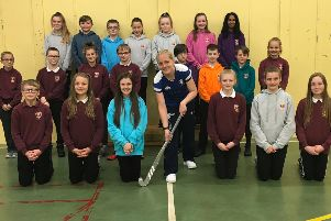 Alana Willox with some of her proud pupils at Pitfour Primary