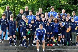 Players from Kilsyth Community FC 2006s with Cyprus players during their training session at Duncansfield (pic courtesy of Cyprus FA)