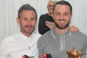 Rob Roy boss Stewart Maxwell with Players' Player of the Year Martin McBride
