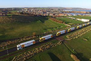 D R Collin lorries heading out of Eyemouth