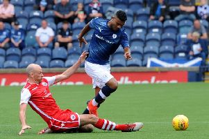 Joao Victoria in action during Saturday's friendly win over Stirling Albion. Credit - Fife Photo Agency