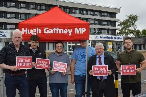 Hugh Gaffney MP and supporters launch the petition outside the current Unversity Hospital Monklands