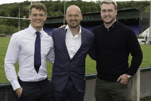 Darcy Graham, left, and Stuart Hogg, right, with head coach Gregor Townsend at Mansfield Park in Hawick (library image by Brian Sutherland).