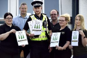 Pic Lisa Ferguson  26/08/2019''Bonnybridge Pub Watch Scheme''Carole Steel (owner Polton Inn and pub watch chair) , Adam Bolton (manager laird dog), PC Jonny Cassidy , Michael Dickson ( licensee calderwood pub) , gillian conlin (manager the chase), Lisa Murray (manager the Royal Oak )