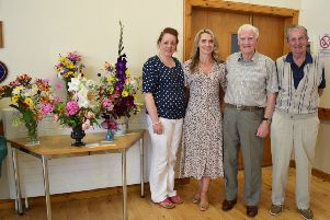 Westruther flower show judges Jane Bell, Lesley McCrindle, Doug Smith and Jim Todd.