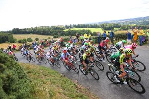 The peloton in action during the Kelso to Kelso stage of the OVO Energy Tour of Britain (picture by Alex Whitehead/SWpix.com)