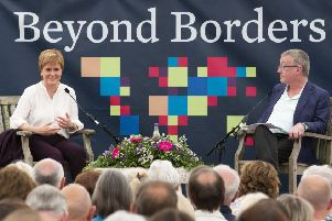 First Minister Nicola Sturgeon at Beyond Borders Book Festival - Traquair House' being interviewed by allan Little