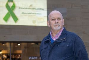 Frank Ritchie pictured at the launch of the Mental Health Foundation's  ribbon projection in honour of World Mental Health Day at Buchanan Galleries. (Photo by Bill Murray / SNS Group)