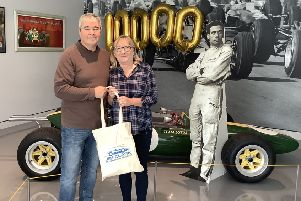 Colin and Moira McNicol, from Stirling  - the 10,000th visitors to the Jim Clark Motorsport Museum in Duns.