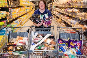 Donna with her haul of Aldi goodies.