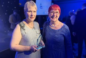 Senior financial inclusion officer, Marion Rayner, LEFT, has won the Margaret Vass, right,  Award for 'excellence in front-line housing' in the CIH (Chartered Institute of Housing) Scotland 2019 Excellence Awards