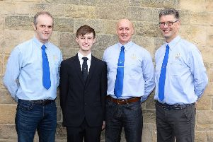 Harry Shepherd with his proud Ex Coldstreamer uncles Michael Shepherd (1986) Martin Law (1981) and Iain Dickson (1987)