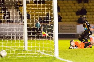 Yaw Osei pulls Berwick Rangers level - and they were to come from behind again later to save a point (picture by Ian Runciman).