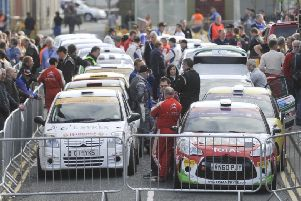 Drivers about to begin a stage at Duns at 2014's Jim Clark Rally.
