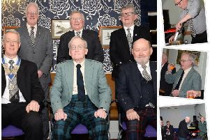 Main photo: Coldstream Burns Club Supper 2020 top table: Front: David Douglas, chairman; The Reverend John Shields; John Elliot, secretary; Back: Rob Smith, president; Raymond Brydon and Bill Rutherford. Top right: David Shepherd addresses the Haggis; middle: The Reverend John Shields toasts The Immortal Memory of Robert Burns, bottom: The haggis is carried in by Bobby Hanlon tae the Skirl of Rob Bell's pipes. (Photos: David Guthrie).