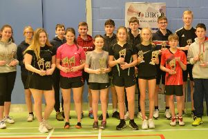 The prizewinners after a superb day of badminton at Earlston High School.