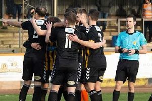 Berwick Rangers players hope to be doing more celebrating after Saturday (archive image)