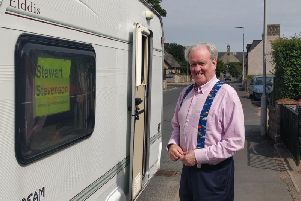 Stewart Stevenson with his mobile office in St. Fergus