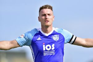 SCOTTISH LEAGUE TWO'PETERHEAD V  CLYDE'(DUNCAN BROWN)''PETERHEAD'S RORY MCALLISTER CELEBRATES HIS GOAL