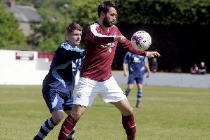 Tommy Coyne hit a hat-trick as Linlithgow Rose went top of the table (pic: Michael Gillen)