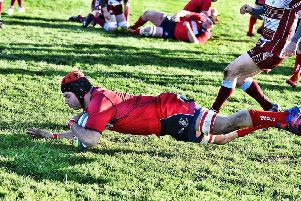 William McCornick crossing the try line for Newton Stewart (pic: BB Photography)