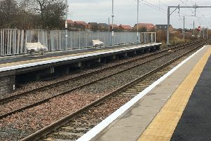 The newly extended platforms at Carfin station