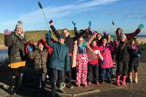 Kininmonth pupils at their litter pick event at Ugie Beach in Peterhead