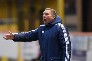 SCOTTISH LEAGUE 2'BERWICK RANGERS V PETERHEAD'(DUNCAN BROWN)''PETERHEAD MANAGER JIM MCINALLY MAKES A POINT