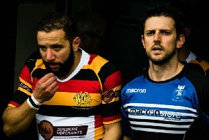 Calder (right) leads Dalziel out in Decembers Shield final loss to Greenock