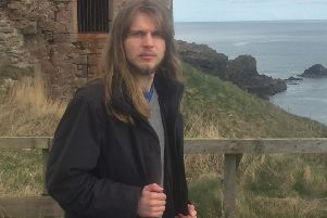 Joe Stollery at Slains Castle, the inspiration for his new musical piece