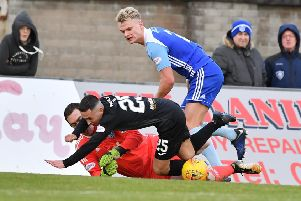 SCOTTISH LEAGUE 2'PETERHEAD V EDINBURGH CITY'(DUNCAN BROWN)''PETERHEAD KEEPER GREG FLEMING BLOCKS AN ATTEMPT BY JACK BREEN