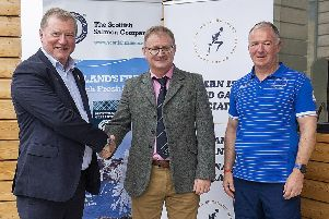 Craig Anderson Chief Executive of SSC with Norrie Macdonald Chairman of Western Isles Island Games Association (WIIGA) and Iain GG Campbell, General Team Manager of the Western Isles Island Games Association (WIIGA).