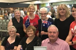 Danny Hoggan with his friends and family in Australia