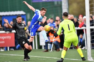 SCOTTISH LEAGUE 2'EDINBURGH CITY V PETERHEAD'(DUNCAN BROWN)''PETERHEAD'S RORY MCALLISTER ATTEMOTS TO BEAT CITY KEEPER CALUM ANTELL FROM A TIGHT ANGLE.