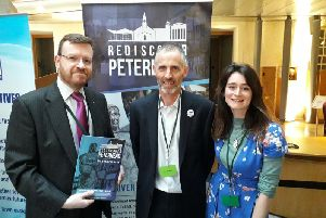 Pictured is Councillor Stephen Smith with John Pascoe and Clair Harwood of Rediscover Peterhead.