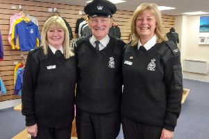 Lorraine Murdoch and Brenda Buchan with Jackie Stuart at the renovated Peterhead Prison Museum gift shop