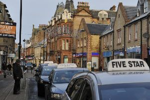 Taxis in Channel Street in Galashiels.