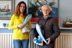 Artists Jane Bradford and George Strachan with their fish sculptures