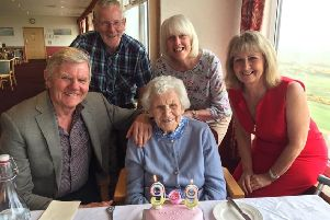Bessie Wilkins with her family at her birthday meal at Cruden Bay Golf Club