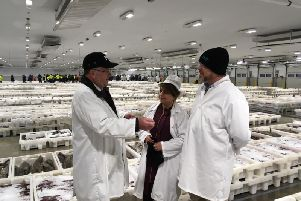 Baroness Mobarik was joined by Banff and Buchan MP David Duguid at Peterhead Fish Market