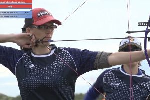 Emily Blake has her eye in on the way to winning the Iceland Open Archery Championships