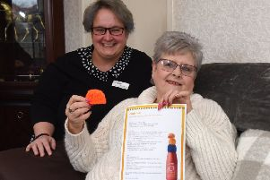 Naomi Kenny (left), librarian with Falkirk Community Trust, pictured with Marion Deans, one of the knitters.