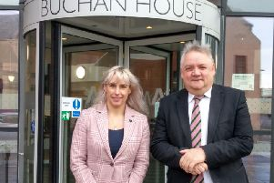 Chris White with the new Buchan Area Manager Amanda Roe