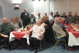 Some members of the group enjoying the festivities at Peterhead Football Club.