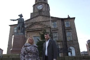 Feuars Manager Dianne Beagrie and Councillor Stephen Smith outside the iconic Peterhead Town House