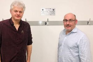 PACT trustees Alan Fakley and Keith Skinner with the Peg for Life.