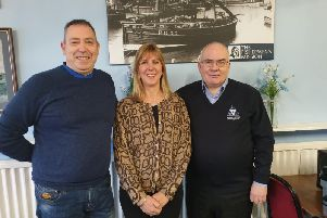 Gary Cruickshank, building owner Alicia Smith and Peter Cowe at the newly named Mariners Cafe.